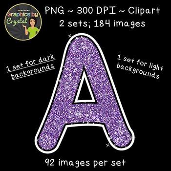 Alphabet Glitter Clipart - Purple