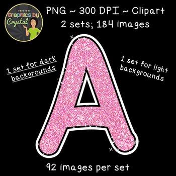 Alphabet Glitter Clipart - Pink