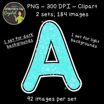 Alphabet Glitter Clipart - Bright Blue