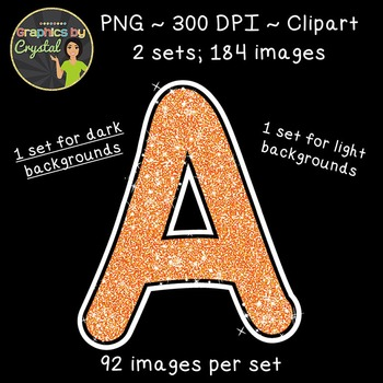 Alphabet Glitter Clipart - Orange