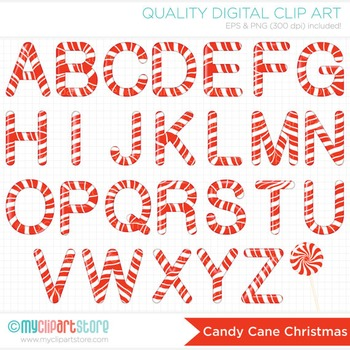 Alphabet Clipart - Christmas / Red Candy Cane ABC