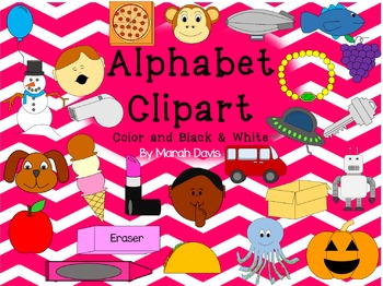 Alphabet Clipart - Color and B&W