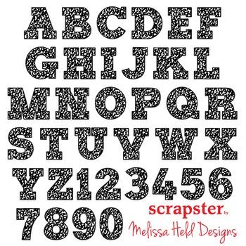 Alphabet Clipart: Composition Notebook Font Clip Art
