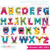 Alphabet Clipart - Monster ABC (Girl)