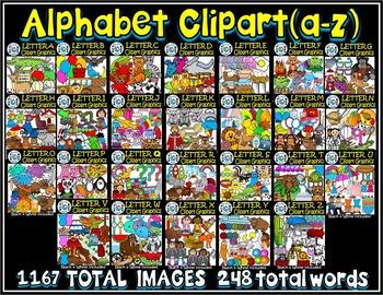 Alphabet Clip art Graphics A-Z-Letter Clipart MEGA BUNDLE