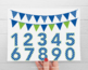 Alphabet Clipart - Polka Dot Numbers and Bunting (Primary Colors)