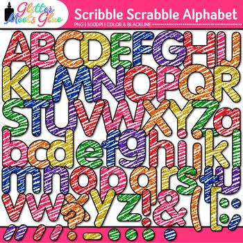 Scribble Scrabble Alphabet Clip Art {Great for Classroom D