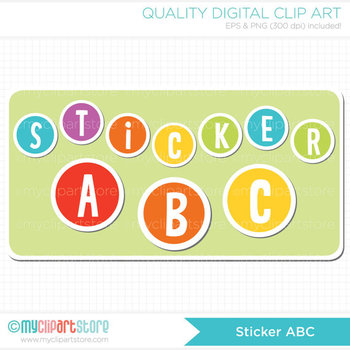 Alphabet Clipart - Sticker Alphabet / Rainbow ABC