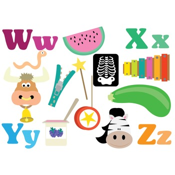 Alphabet Clipart - WXYZ - Clipart & Vector Set - Instant Download