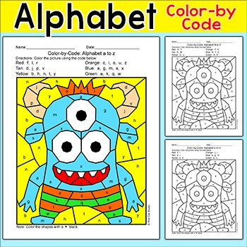Alphabet Color by Code Monster Activity - Captial Letters