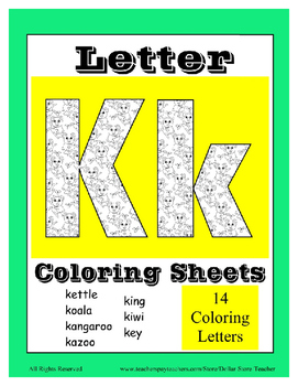 Alphabet Coloring Pages for the Letter K ~ 7 Beginning Sou