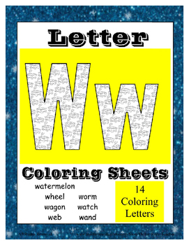 Alphabet Coloring Pages for the Letter W ~ 7 Beginning Sou