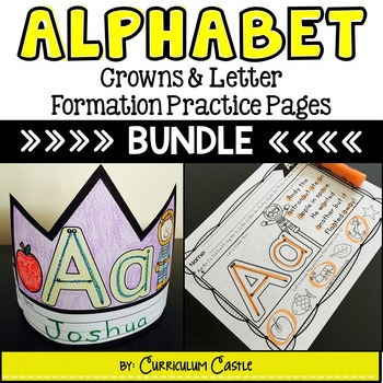 Alphabet: Crowns and Letter Formation Practice BUNDLE