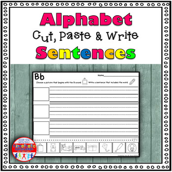 Alphabet Sentence Worksheets - Cut & Paste