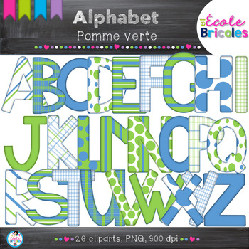 Alphabet-Docudéco Pomme verte/Green apple alphabet