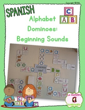 Alphabet Dominoes: Letter and Beginning Sound Matching (Spanish)