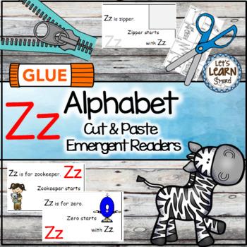 Letter Z Alphabet Emergent Reader and Cut and Paste Activi