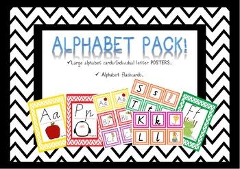 Alphabet Flash Cards & Posters Victorian Modern Cursive (V