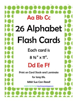 Alphabet Flash Cards/Bulletin Board Signs  (Bright Green D