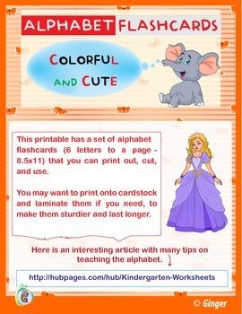 Alphabet Flashcards - Colorful - Cute