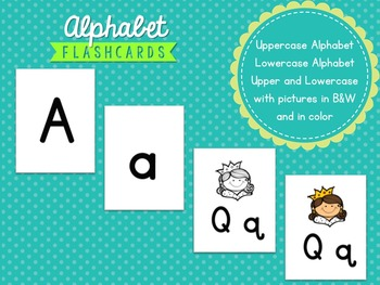 Alphabet Flashcards with and without pictures