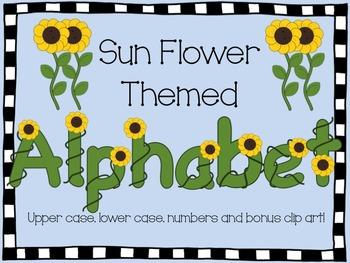 Alphabet Font Clip Art- Sunflower theme
