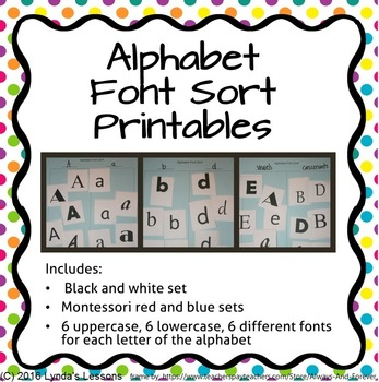 Full Alphabet Font Sort Printables- lower and upper case l
