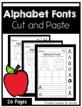 Alphabet Fonts. Kindergarten. Cut and Paste. A-Z