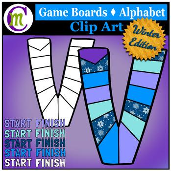 Alphabet Game Boards Clip Art ♦ Winter Edition
