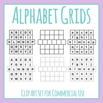 Alphabet Grids - Cut Out & Plain Clip Art for Commercial Use