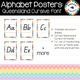 Alphabet Handwriting Posters - Queensland Cursive font (Ra