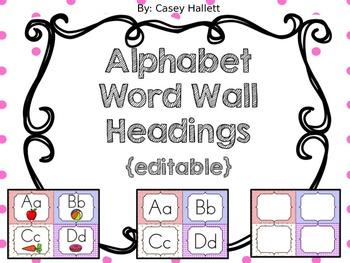 Alphabet Headings for Word Wall {editable}