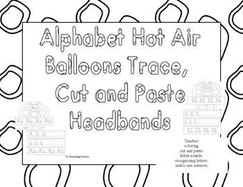 Alphabet Hot Air Ballons Cut and Paste Headbands