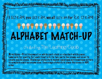Alphabet Match Up - I scream for Ice cream!