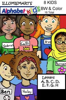 Alphabet Kids A-H Clip-Art! BW & Color, 16 Pieces Total!