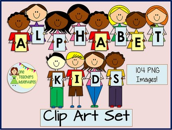 Alphabet Kids Clip Art Set - 104 images for personal and c