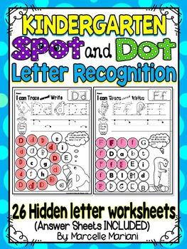 Alphabet LETTER RECOGNITION Worksheets-Color or Dab-HIDDEN