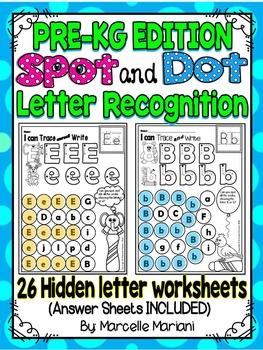 Alphabet LETTER RECOGNITION Worksheets-Color or Dab -HIDDE