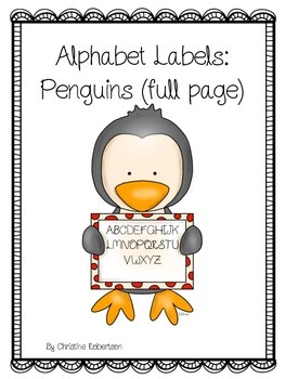 Alphabet Labels: Penguins (Full page)