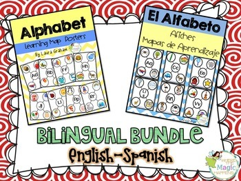 Alphabet Learning Map Posters in English and Spanish Bilin