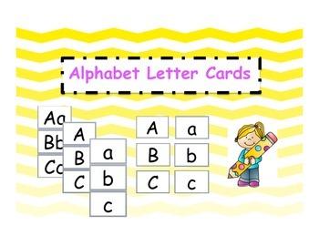 Alphabet Letter Cards 3 Set Pack Ombre Yellow Chevron Theme