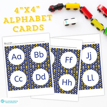 Alphabet Letter Cards Blue And Gold Polka Dots