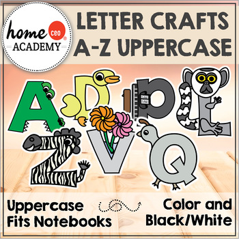 Alphabet Interactive Notebook (UPPERCASE LETTER CRAFTS) by Preschool Homeschool