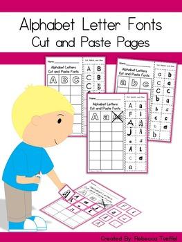 Alphabet Letter Font Cut and Paste Activity