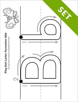 Alphabet Letter Formation Play-Doh Mat Activity Set {BW}
