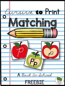 Alphabet Letter Matching - Cursive to Print