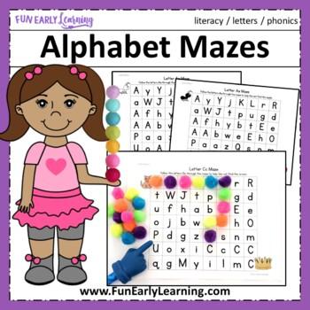 Alphabet Letter Mazes - Color and Black Line {Common Core