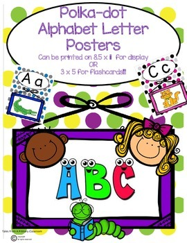 Alphabet Letter Posters-Polka-Dot Pattern. Cute Graphics a