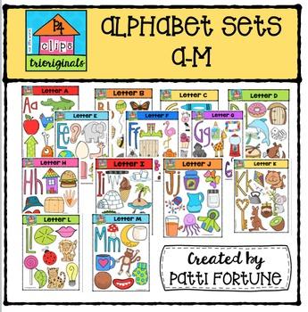 Alphabet Letter Sets A-M {P4 Clips Trioriginals Digital Clip Art}