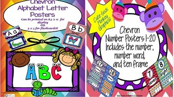 Alphabet Letter and Number Posters- Chevron Pattern